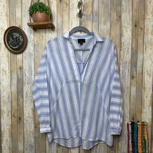 Lumiere Striped Deep V Neck Long Sleeve Tunic